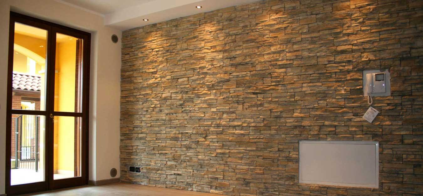 parete con rivestimento in pietra stile di arredamento moderno impresa edile REC
